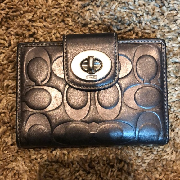 Coach Handbags - Coach wallet - embossed black/pewter